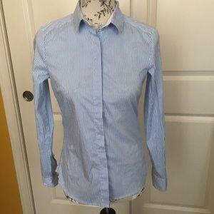 Button Up Collar Striped Long Sleeve Shirt